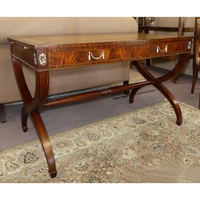 Maitland Smith Regency Style Leather Top Mahogany Writing Desk For Sale - Image 11 of 11