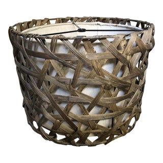 Late 20th Century Vintage Designer Wicker Lamp Shade For Sale