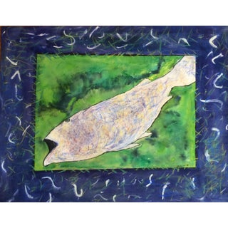 """""""Fish"""" Mixed Media Collage by Rosalind Mesquita For Sale"""
