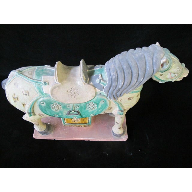 Ceramic Early 20th Century Horse on Stand Chinese Green Sancai Glaze Terra Cotta Pottery Figurine For Sale - Image 7 of 11