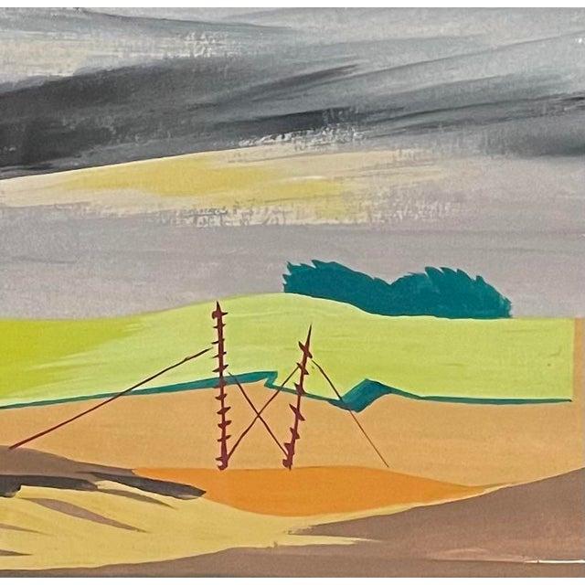 """1950s """"Mac Le Sueur"""" Landscape Gouache Painting, Framed For Sale - Image 4 of 9"""