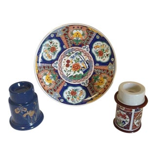 "Vintage Imari Style Ucgc Japan Decorative 10"" Plate & Candle Holders - Set of 3 For Sale"