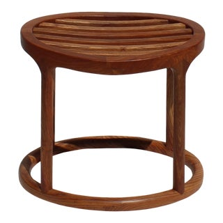 Chinese Oriental Brown Huali Wood Curve Seat Oval Stool For Sale