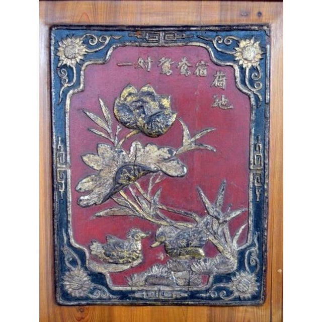 19th Century Antique Chinese Wide and Large Hand-Carved Gilt Wooden Cabinet For Sale - Image 10 of 11