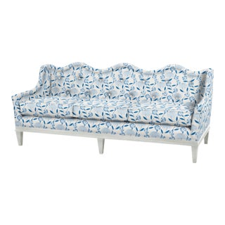 Sashay Sofa with White Finish in Blue Bouquet Toss by Celerie Kemble for Schumacher For Sale