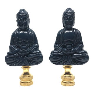 Chinoiserie Navy Blue Porcelain Buddha Figure Lamp Finials - a Pair For Sale