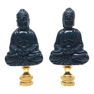 Chinoiserie Navy Blue Porcelain Buddha Figure Lamp Finials - a Pair