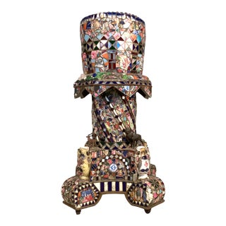 Antique 1920s Folk Art Memory Mosaic Plant Stand For Sale