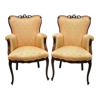 Vintage French Hollywood Regency Victorian Upholstered Fireside Lounge Arm Chairs- A Pair For Sale