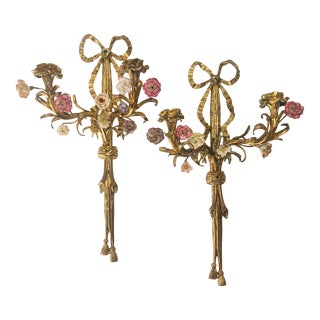 Antique French Louis XV Style Ormolu Twin Light Wall Sconces After Pierre Gouthiere - a Pair For Sale