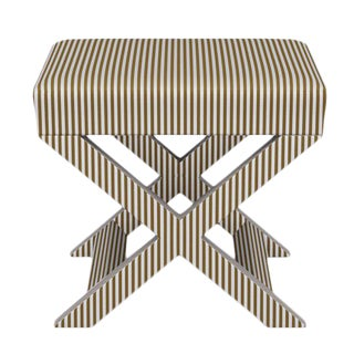 X Bench in Gold Ticking Stripe For Sale