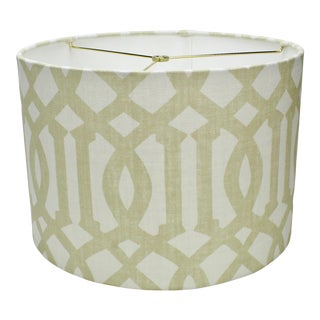 Large Drum Lamp Shade in Schumacher Imperial Trellis Sand For Sale