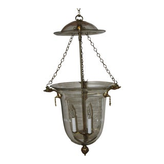 Late 19th Century French Hand Blown Bell Chandelier With Canopy For Sale
