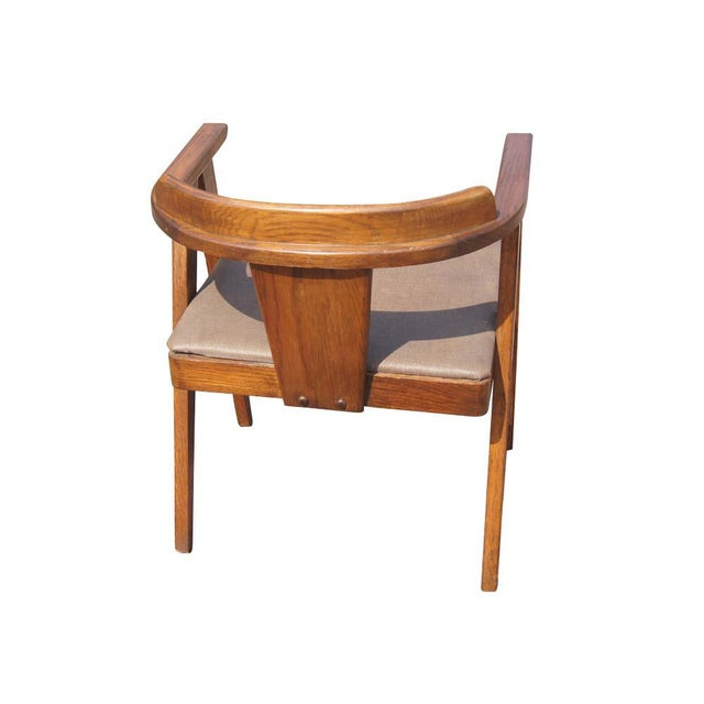 Mid Century Modern Oak Vanity and Chair - 2 Pieces For Sale - Image 9 of 11