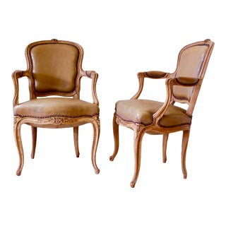 French Louis XV Style Carved Beechwood Armchairs- A Pair For Sale
