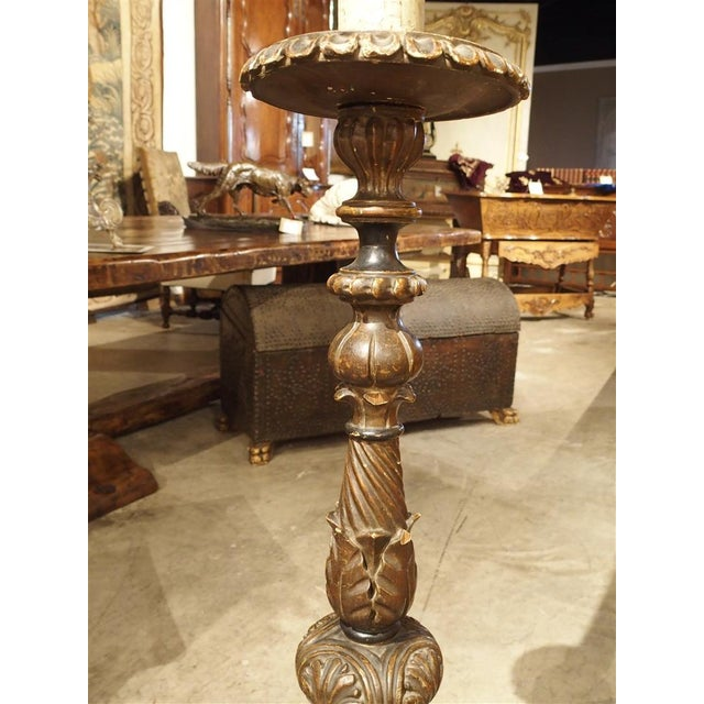 Carved Antique French Floor Candlestick Lamp, circa 1880 - Image 3 of 9