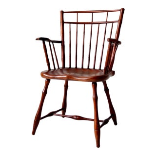 Antique Square Back Windsor Arm Chair For Sale