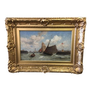 "Theodore Alexander Weber ""Leaving the Harbor"" Oil on Canvas For Sale"