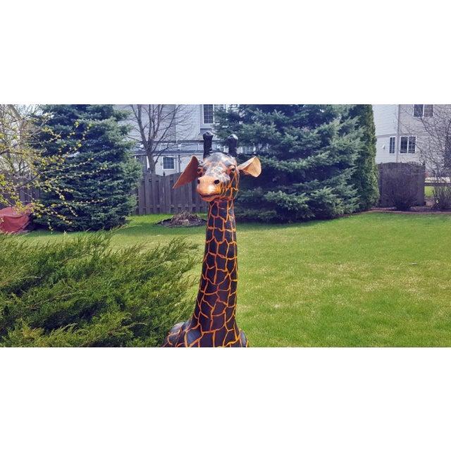 Handmade Leather Giraffe Figurine For Sale - Image 4 of 5