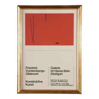 1968 Vintage Friedrich Vordemberge-Gildewart Exhibition Poster For Sale