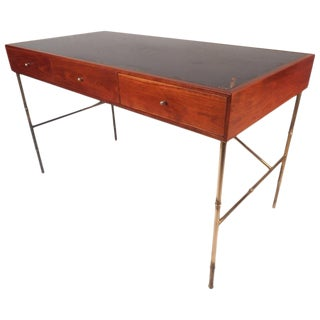 Mid-Century Modern Walnut Desk with a Leather Top