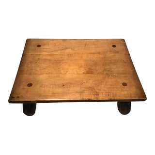 Rustic Swedish Handcrafted Studio Oak Coffee Table For Sale