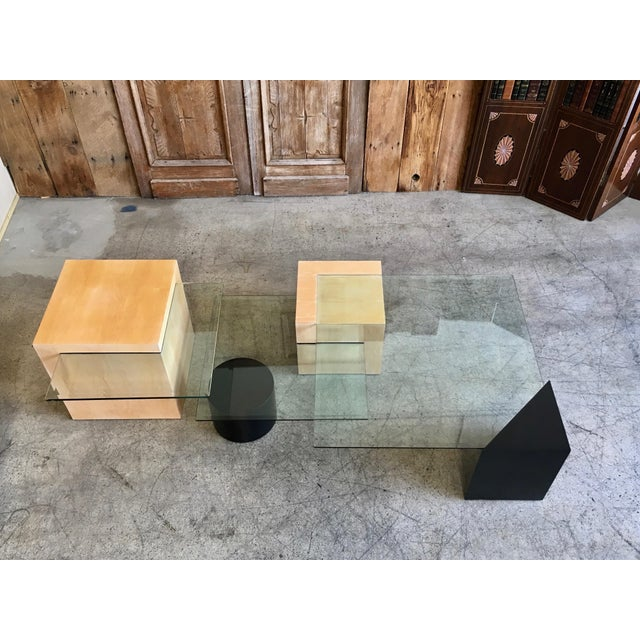 Glass Late 20th Century Modern Geometric Wood and Glass Multi-Level Coffee Table For Sale - Image 7 of 8