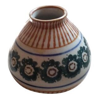 "1930s ""Peacock's Eyes"" Mid-Century Modern Bunzlau Ceramic Vase For Sale"