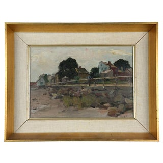 """Early 20th Century """"Road by the Coast"""" Painting by Charles Herbert Woodbury For Sale"""
