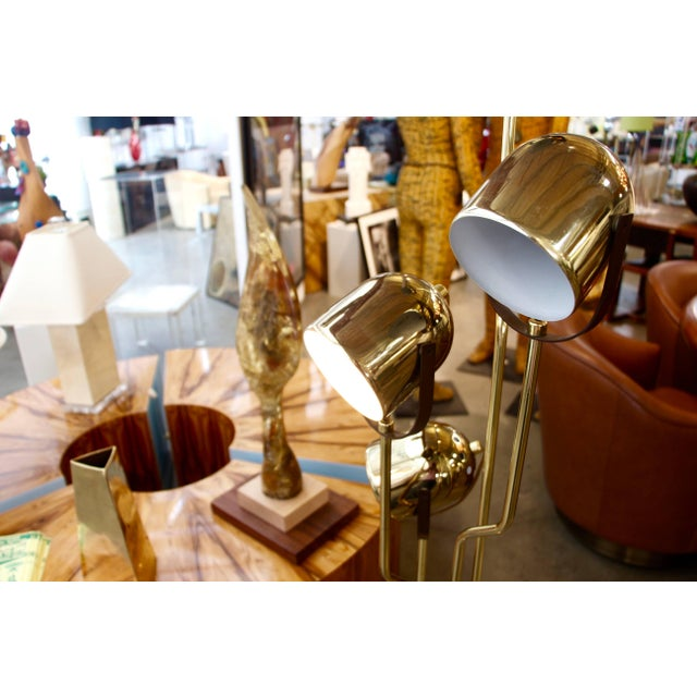Metal Reggiani Brass Floor Lamp With Four Heads For Sale - Image 7 of 8