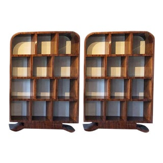 1950's French Art Deco Lacquered Bookcase-A Pair For Sale