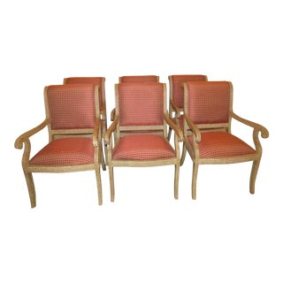 Red Upholstered Carved Dining Chairs - Set of 6