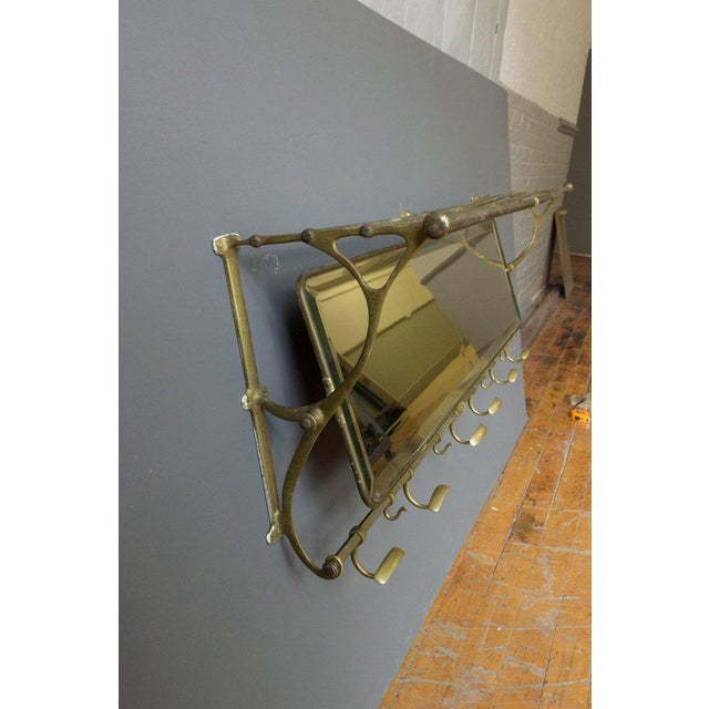 Brass Coat Rack With Mirror and Hooks - Image 3 of 9