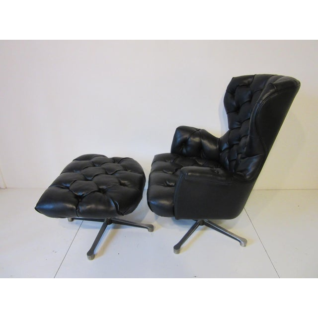 Modern Tufted Swiveling Lounge Chair and Ottoman For Sale - Image 3 of 10