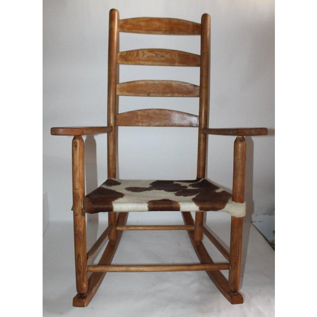 Country Early 20th Century South West Rocking Chair in Cowhide Seat For Sale - Image 3 of 12