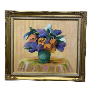 Floral Oil Painting in Gold Frame For Sale