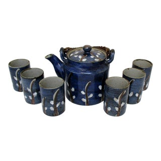 Japanese Earthenware Tea Set, 7 Pieces For Sale