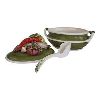 1960s Mid-Century Modern Majolica Style Trompe l'Oeil Tureen with Ladle - 3 Pieces For Sale
