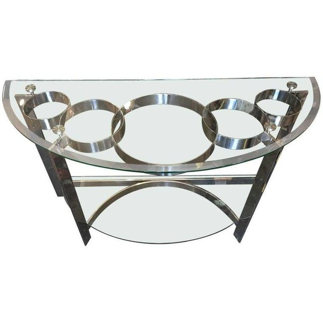 1970s Contemporary Two-Tier Demilune Console For Sale In Los Angeles - Image 6 of 6