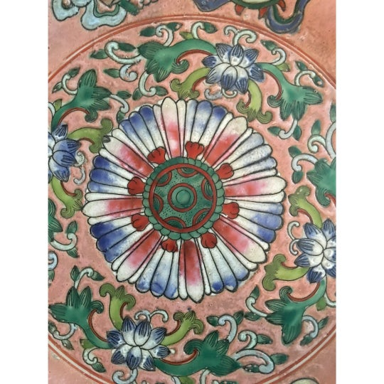 Asian Vintage Chinoiserie Decorative Pink Porcelain Plate For Sale - Image 3 of 7