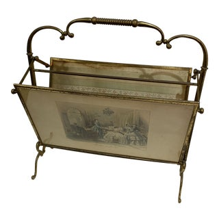 Antique French Brass Magazine Rack For Sale
