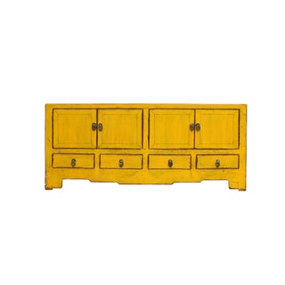 Chinese Distressed Yellow Low Tv Console Table Cabinet For Sale