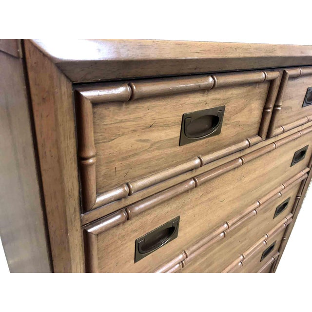 Thomasville 1960s Hollywood Regency Thomasville Faux Bamboo 5-Drawer Highboy For Sale - Image 4 of 9