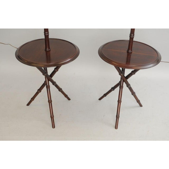 Pair of Chinese Chippendale Faux Bamboo Floor Lamp End Tables Tripod Wood Vintage For Sale - Image 5 of 11