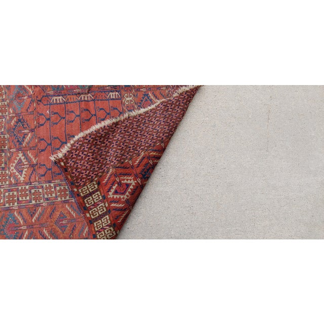 "Vintage Turkoman Tekke Rug-3'11'x5"" For Sale - Image 10 of 12"