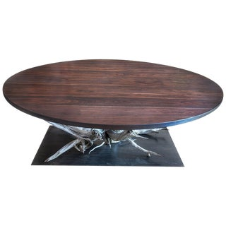 Large Round Walnut and Steel Dining Table For Sale
