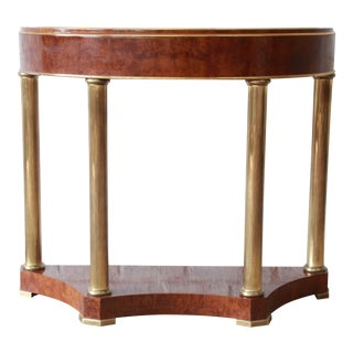 Mastercraft Burl Wood and Brass Demilune Console Table For Sale