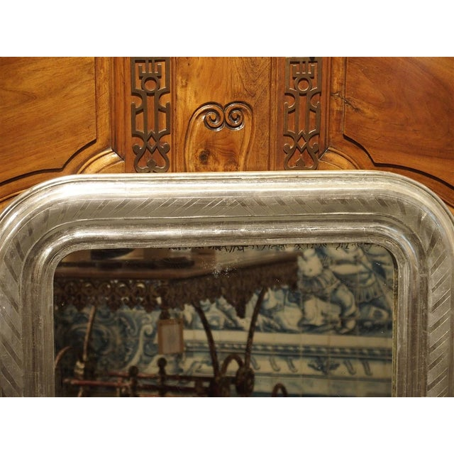 19th Century Antique French Louis Philippe Silverleaf Mirror For Sale - Image 5 of 9