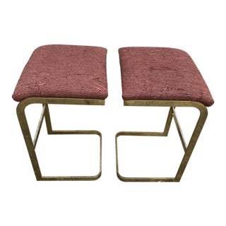 Milo Baughman Brass Bar Stools With Abstract Pink Upholstery For Sale