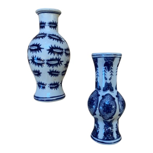 Chinoiserie Blue and White Wall Pockets - a Pair For Sale